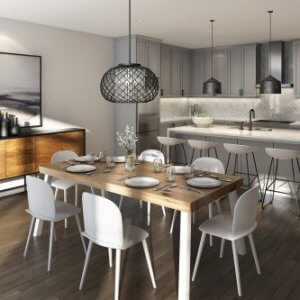 Open concept kitchen and dining room by Paradise Developments
