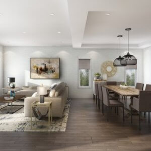 Open concept living room by Paradise Developments