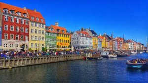 Colourful central Copenhagen in the Nyhavn district